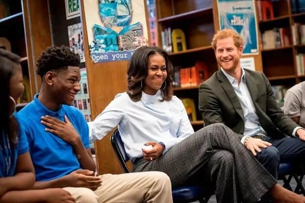 Confusion as Michelle Obama and Prince Harry turn up for student's seminar uninvited