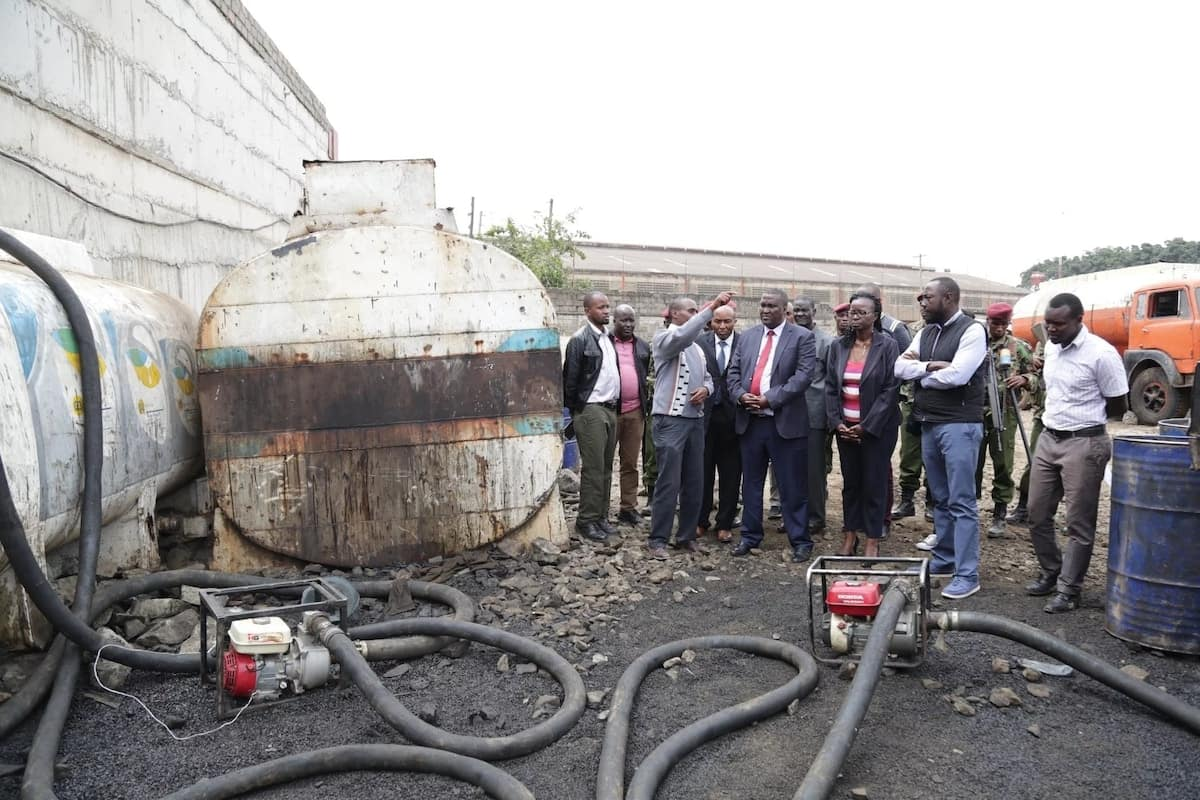 Police raid 12 illegal petrol stations, arrest 99 suspects, get bad fuel in Nairobi's Industrial area