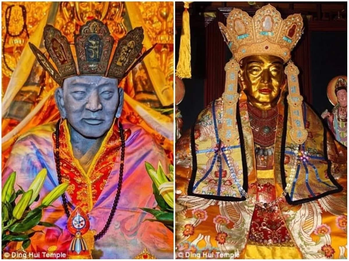 The mummified body, before and after being covered in gold. Photos: Ding Hui Temple