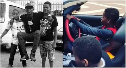 Jose Chameleone's underage sons stun as they drive a pricey Bentley on their own