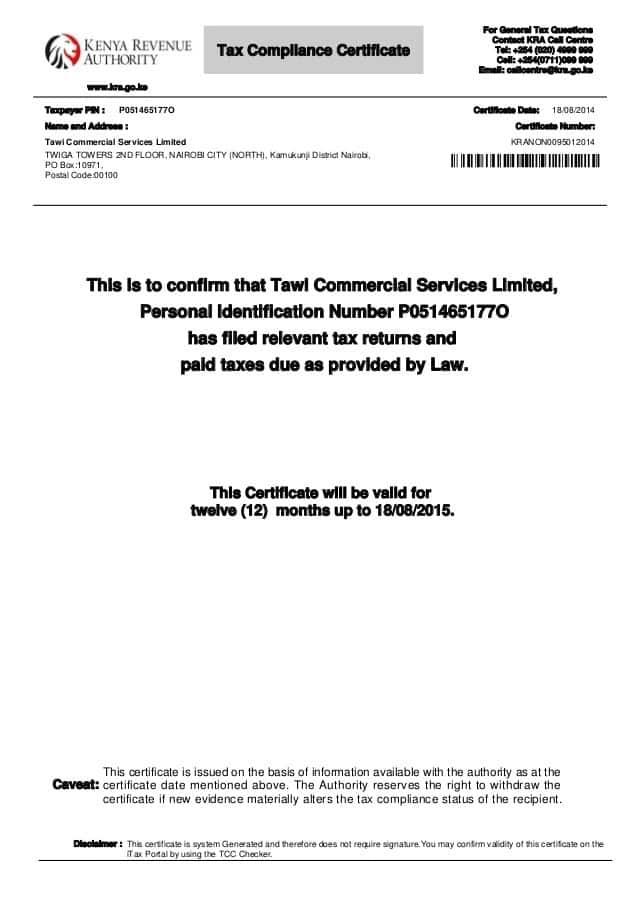 KRA tax compliance certificate sample image