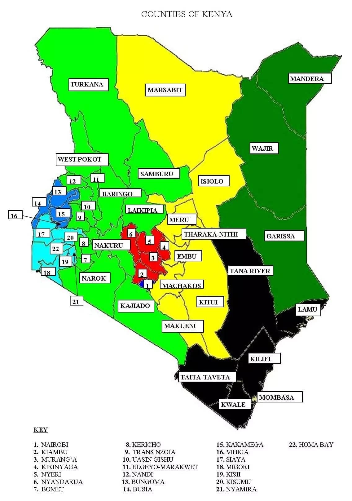 List of all county numbers in kenya