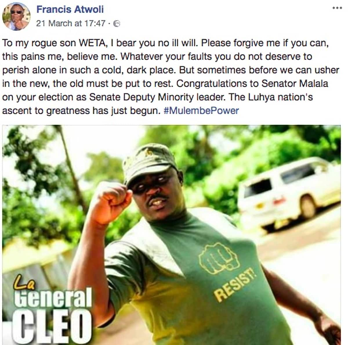 COTU boss Francis Atwoli denies belittling Moses Wetangula, blames fake Facebook page
