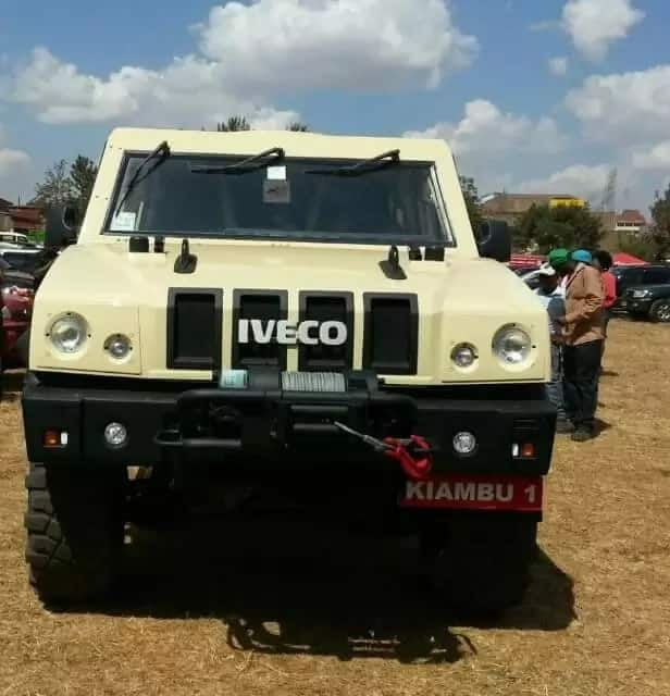 Former Kiambu governor Kabogo's son shows off father's KSh 20 million armored Military vehicle