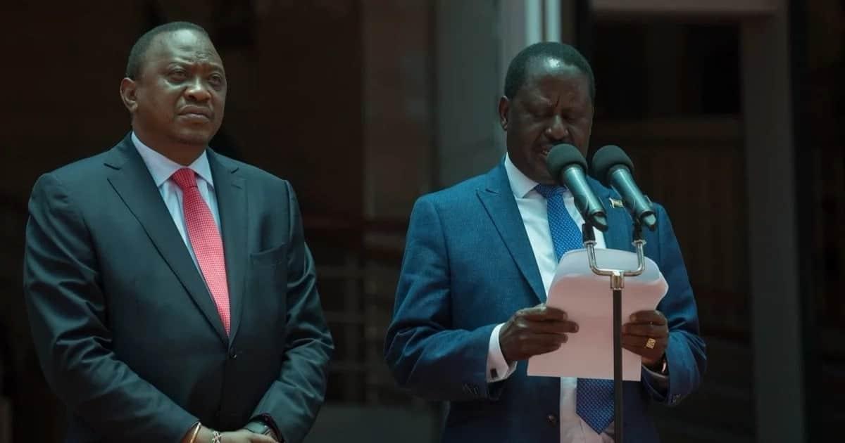 President Uhuru Kenyatta meets former Prime Minister Raila Odinga at Harambee House.