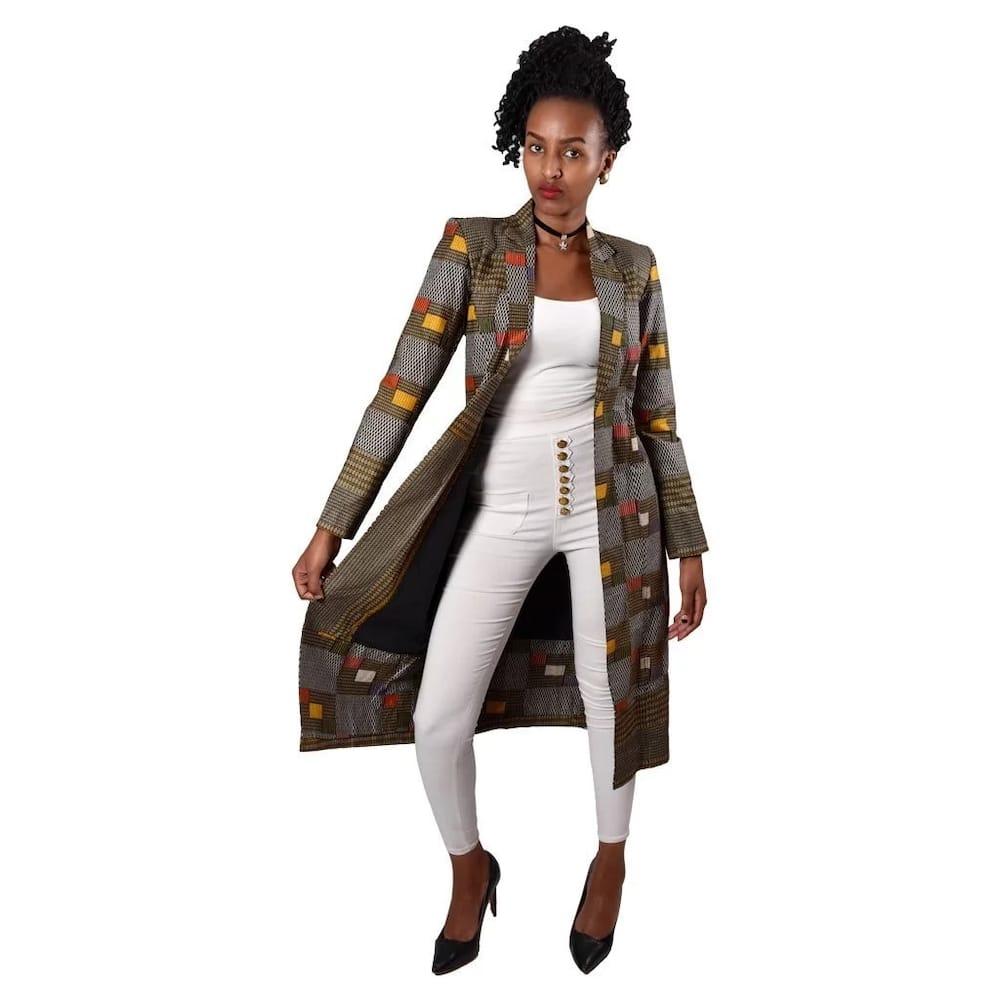 Kitenge long coat designs for slim ladies