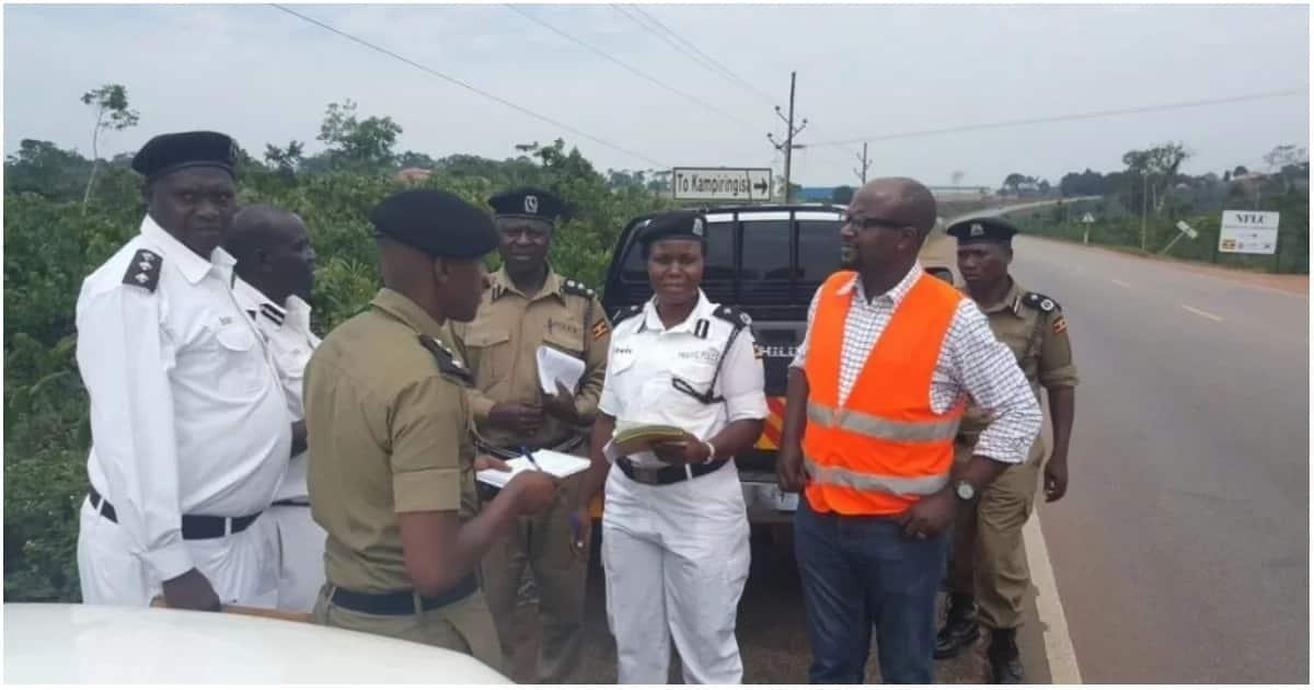Ugandan traffic police officers at work.
