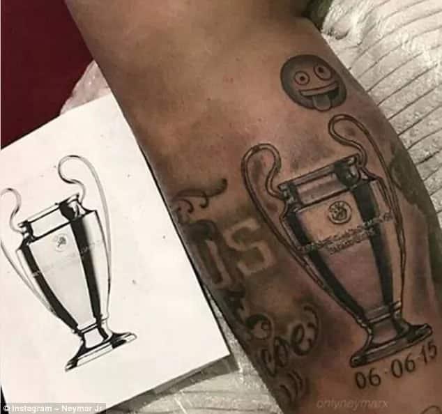 Neymer atoa onyo kwa Real Madrid kupitia kwa tatoo zake mguuni
