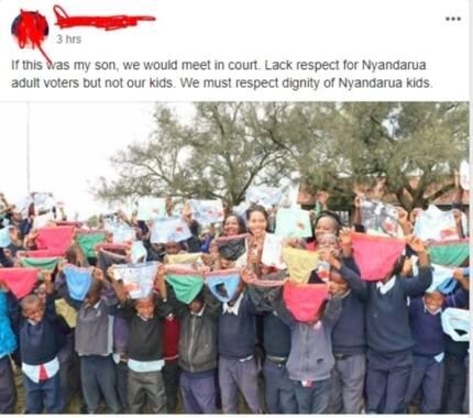 Hasira huku Mama Kaunti Nyandarua akisambaza chupi kubwa kupita kiasi kwa wavulana wa shule ya msingi
