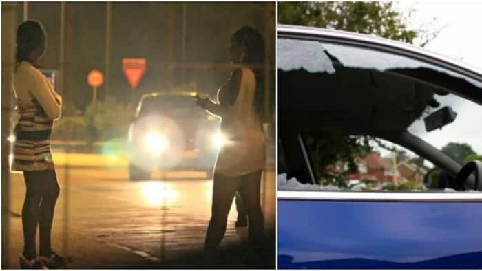 Half-dressed Nairobi woman loses it, smashes client's car in broad daylight (photos)