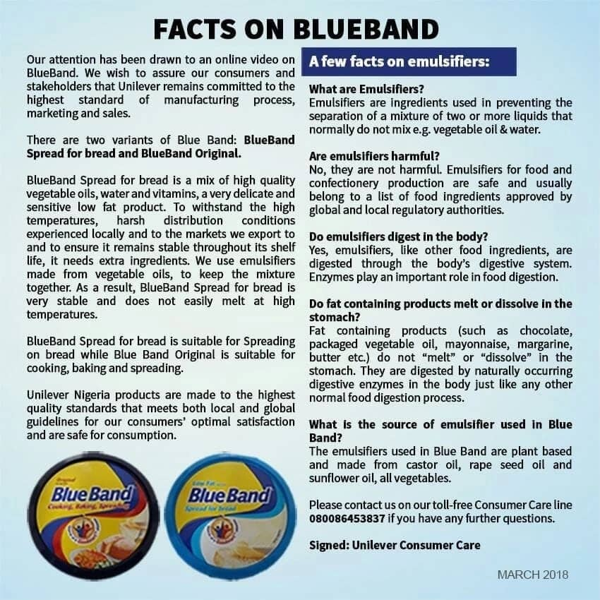 Uniliver's explanation on why Blue Band spread does not melt as captured in viral video