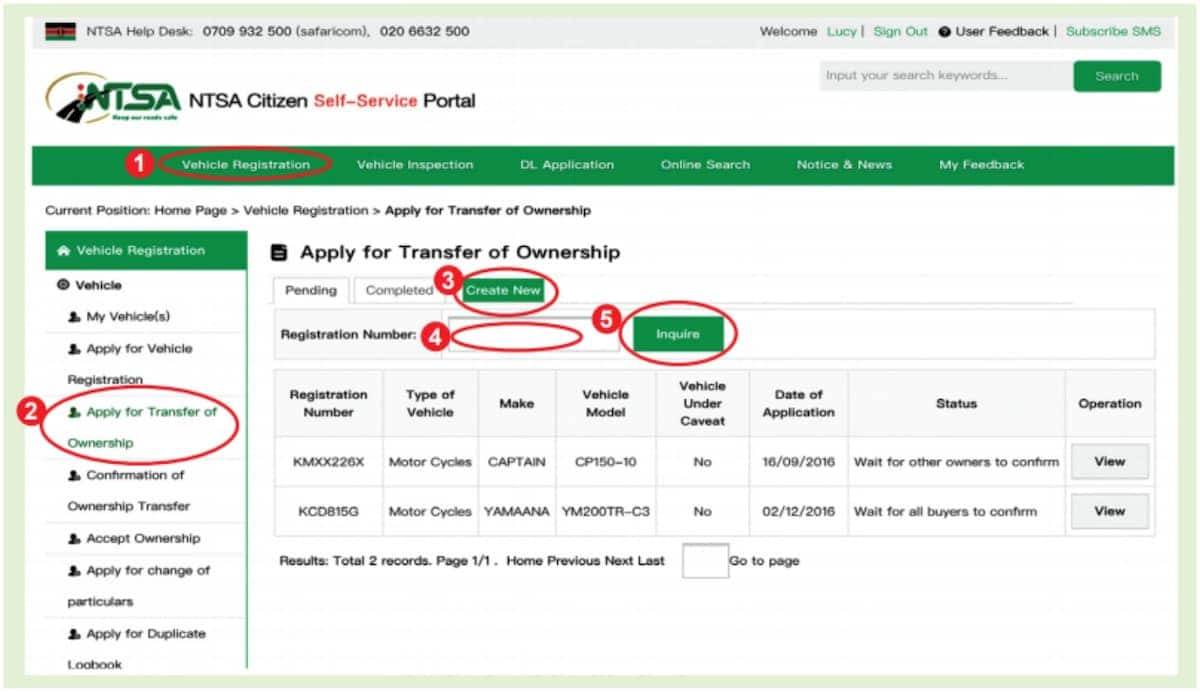NTSA motor vehicle transfer procedure – form, fees & requirements
