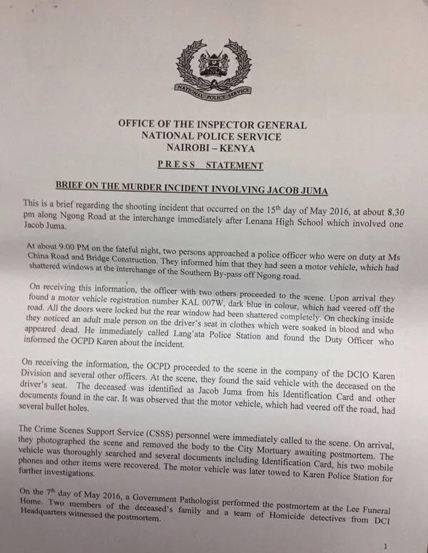 Homicide investigations report into death of Jacob Juma ▷ Tuko co ke