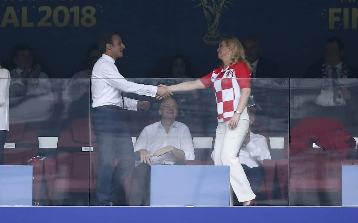 Croatian president's public display of affection with France president at World Cup is just jaw dropping