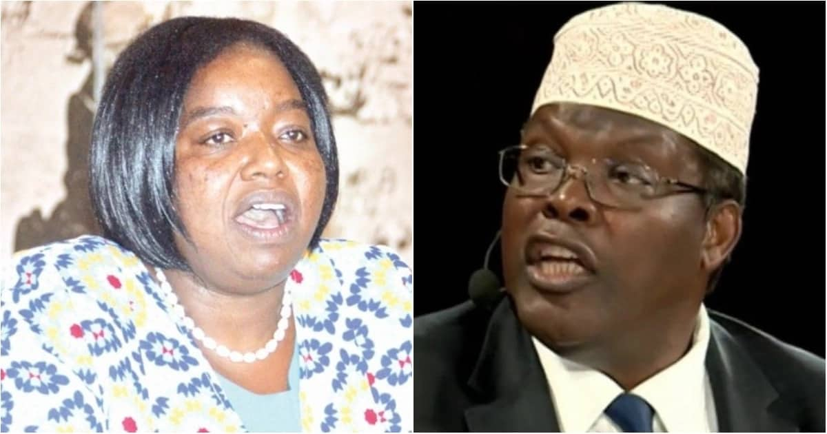 Foreign Affairs Cabinet Secretary (CS) Monica Juma (left) warned Miguna Miguna (right) risk being deported back to Canada if he will not produce apply for a Kenyan passport afresh.