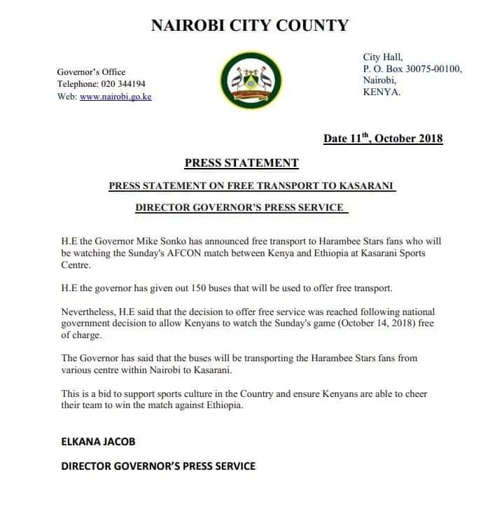 Sonko offers 150 buses for fans attending Harambee Stars crucial match against Ethioipia