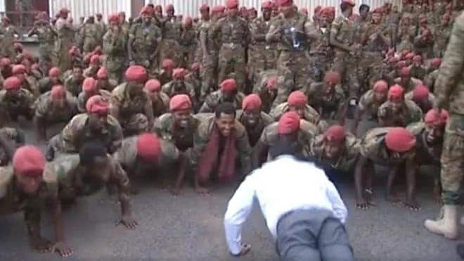 Ethiopia Prime Minister Abiy Ahmed challenges protesting soldiers on a press-ups contest