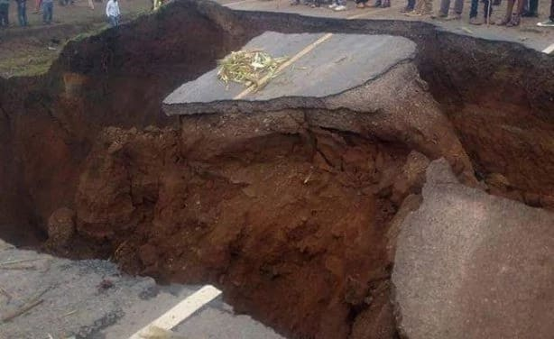 Section of Nairobi - Narok road sinks again amid reports of volcanic activities in the region