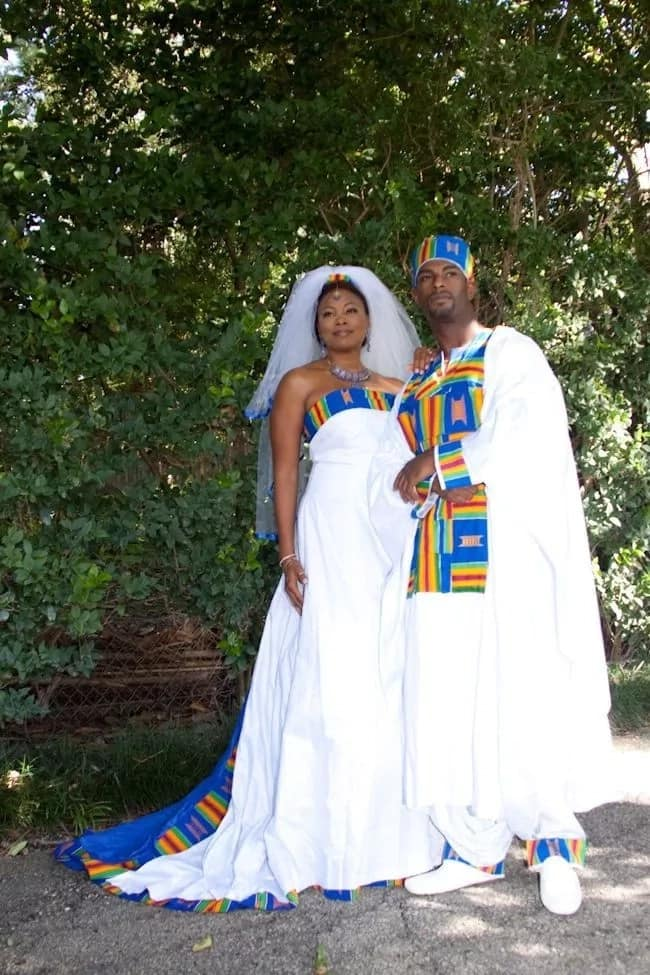 All-white plus color prints African inspired wedding dresses