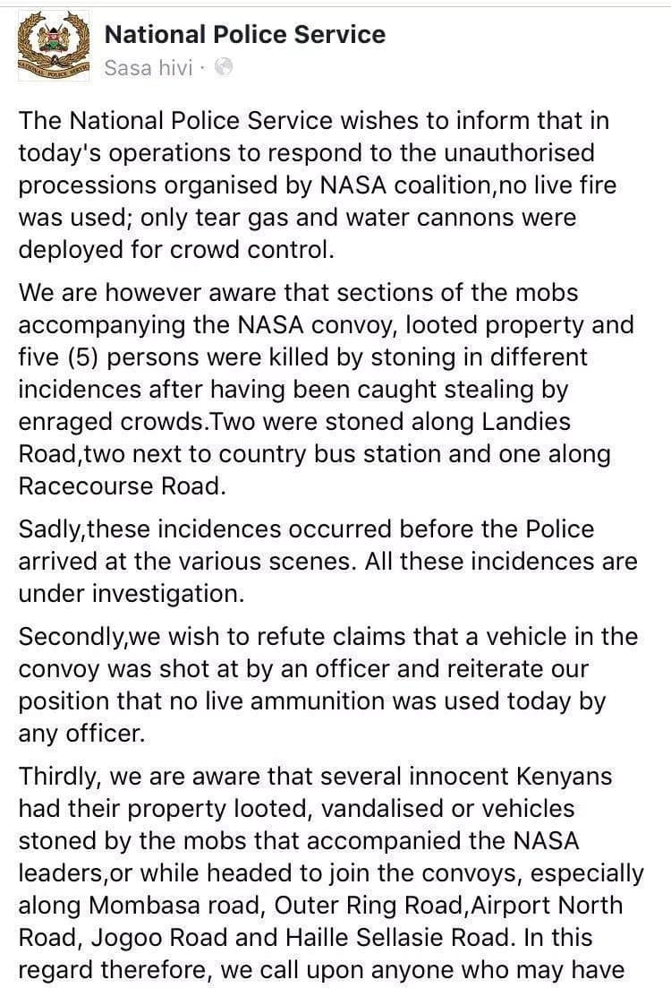 Five people died but no live bullets were deployed in NASA illegal gathering - Police