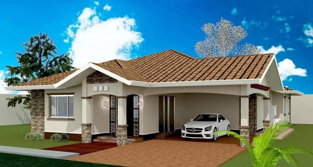 Three bedroom bungalow house plans in Kenya Tuko.co.ke