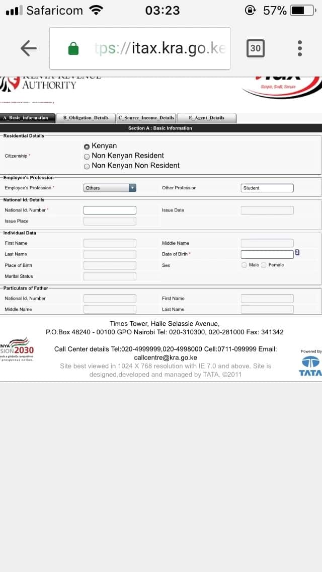KRA pin application procedure for students