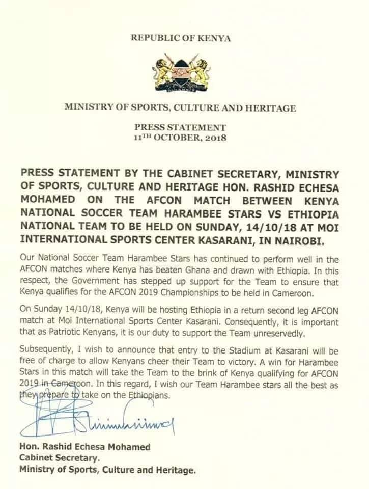 Federation of Kenya Football.