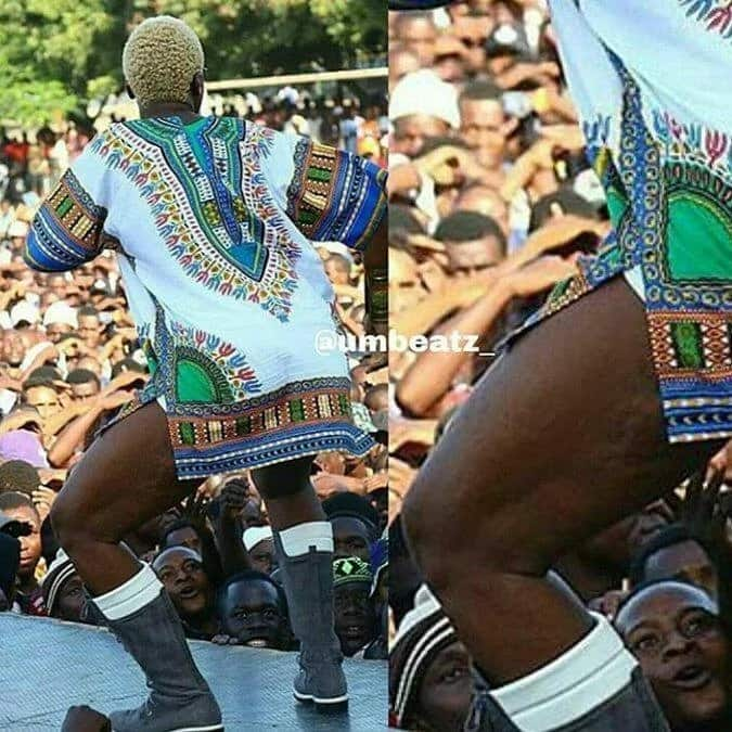 Diamond Platnumz celebrity sister, Queen Darleen gives fans a chance to see her underwear live on stage