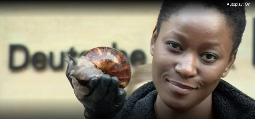 Ollie Thompson quit her job to start farming and selling snails. Photo: BBC