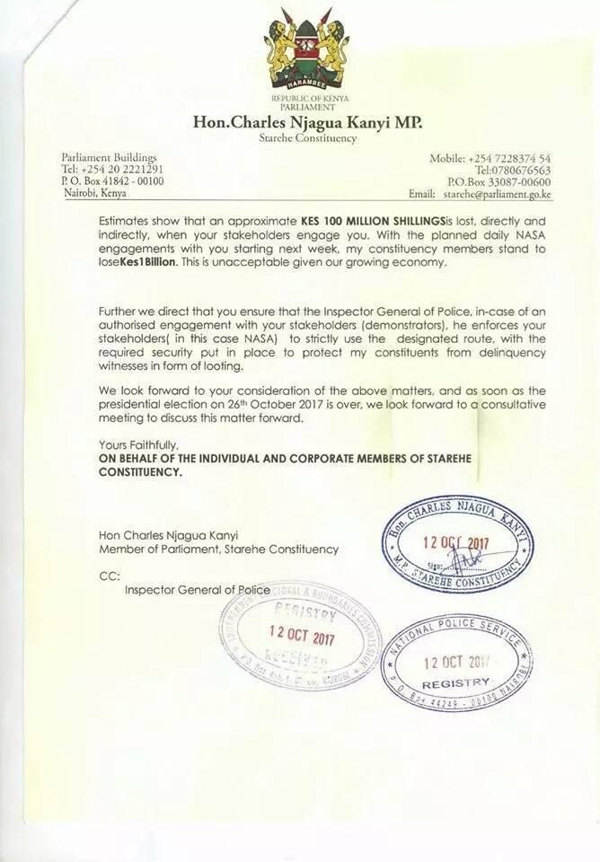 Starehe MP Jaguar writes to IEBC demanding they relocate from Anniversary Towers in CBD