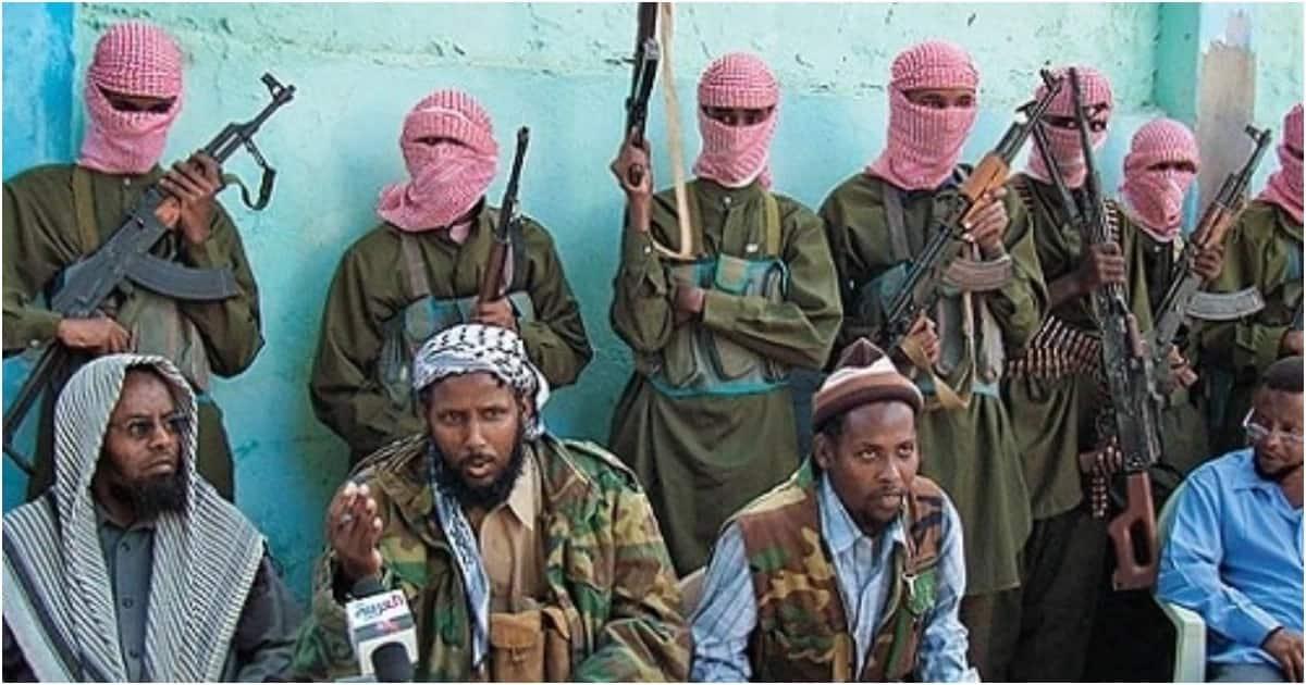 Al-shabaab militia's leader Ahmed Umar and his soldiers.