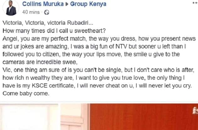 Kenyan man opens up about his love for Tv star Victoria Rubadiri