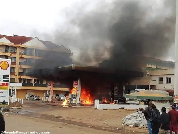 Massive fire engulfs Shell petrol station in Kasarani