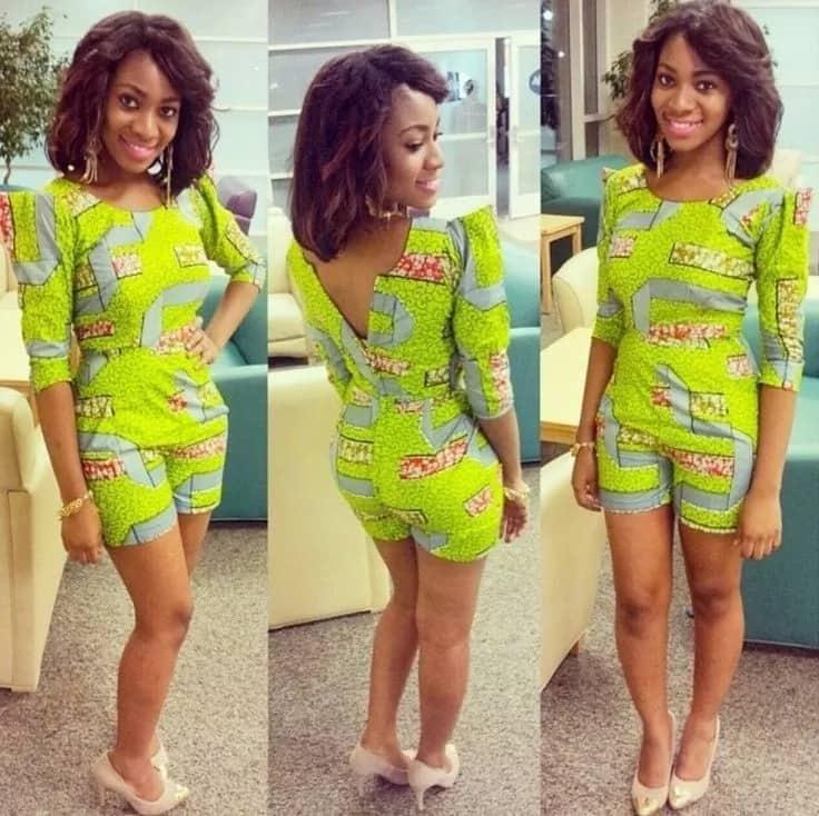 Kitenge jumpsuit short designs for slim ladies