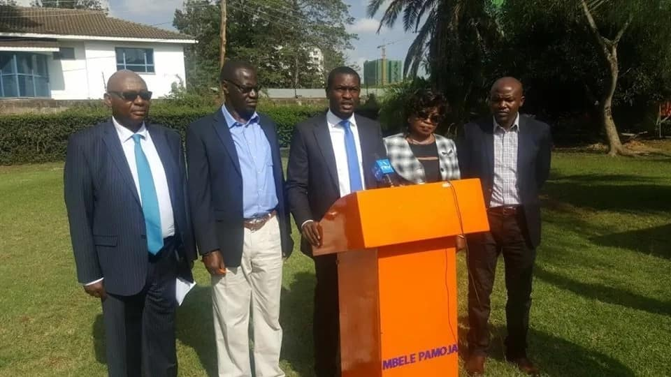 Orange Democratic Movement Secretary General Edwin Sifuna and other party members addressing the press.