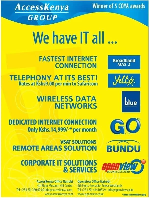 Access Kenya internet installation costs & requirements, Access kenya internet connection rates ,Access kenya unlimited internet