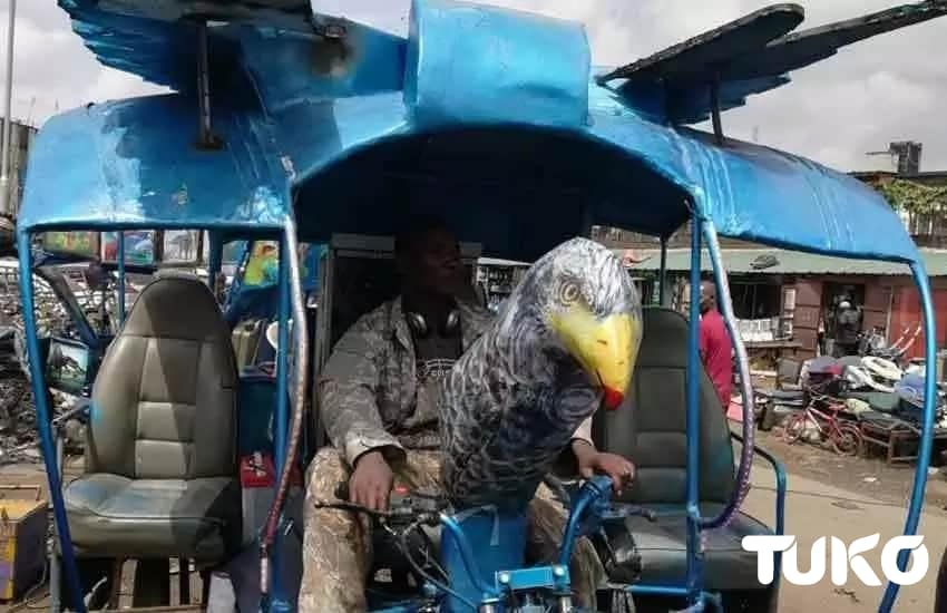 Ex street boy turns tuk tuk into a solar powered helicopter at KSh 200k