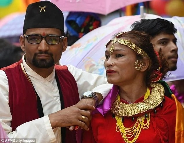 Monika pictured with her husband Ramesh at their wedding. Photo: Getty Images