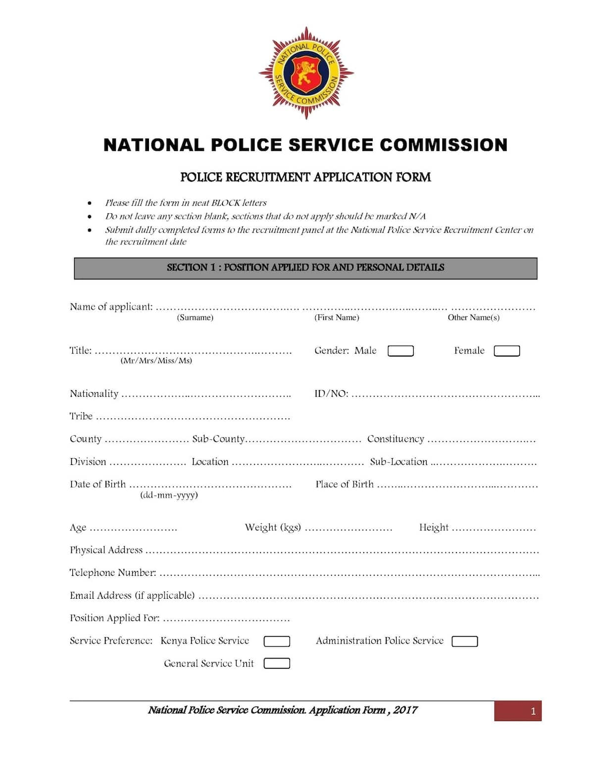 Kenya police application form 2018