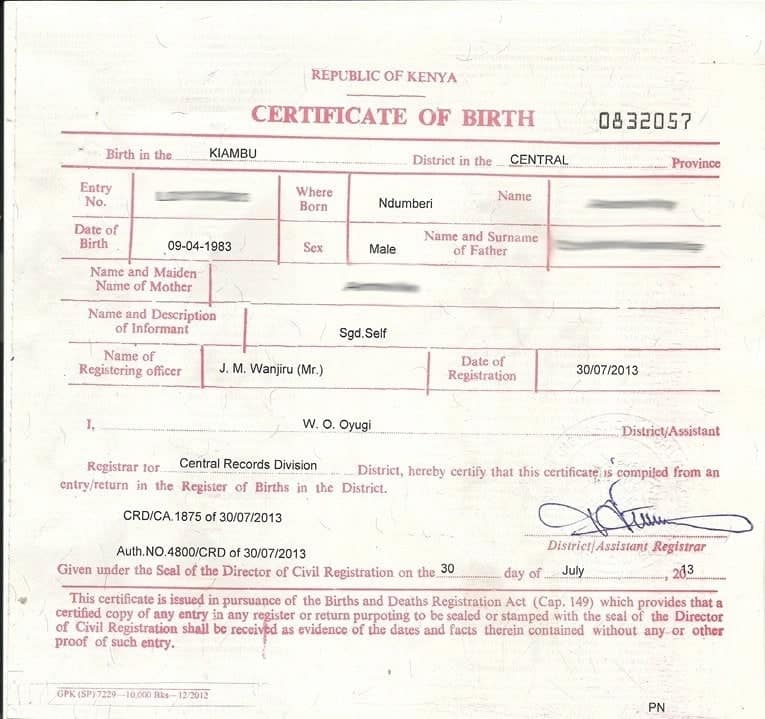 Where is the Kenyan birth certificate number located ▷ Tuko