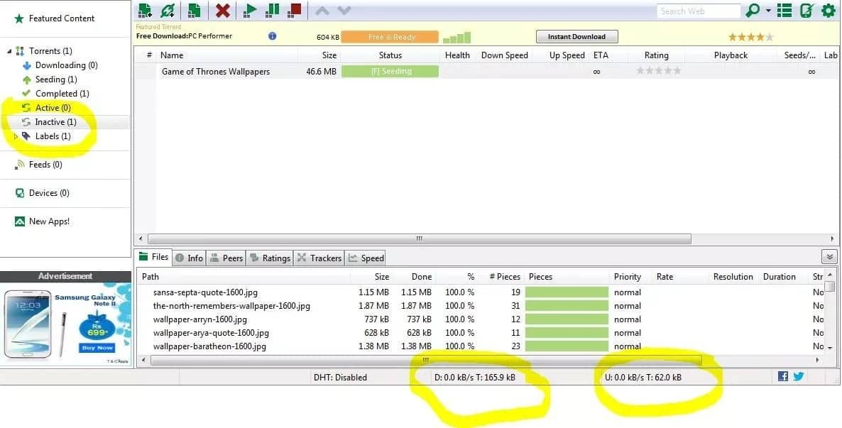 uTorrent app window