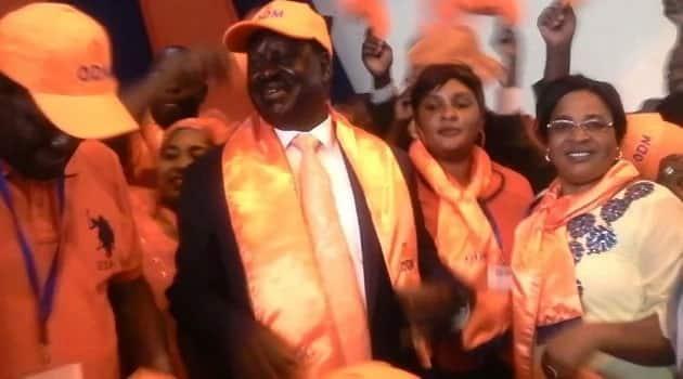 ODM leader Raila Odinga meeting his party members.