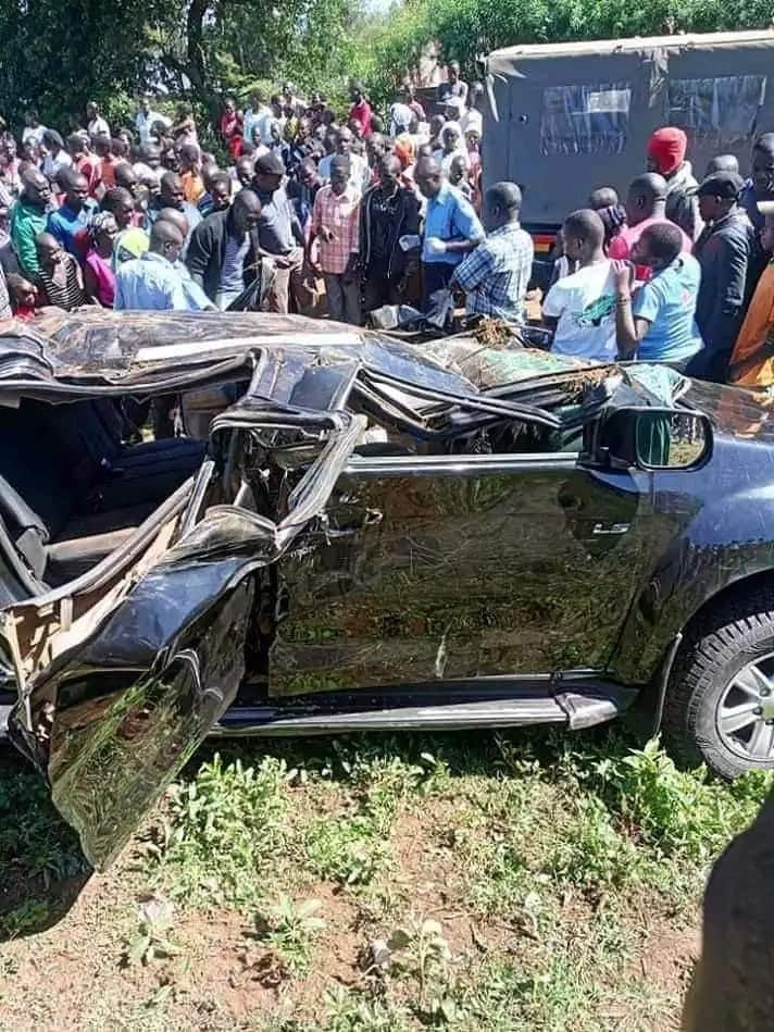 The grisly road accident that has since killed her bodyguard. Photo: UGC