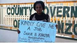Desperate woman camps outside Trans Nzoia governor's office to beg for a job 17 years after graduating