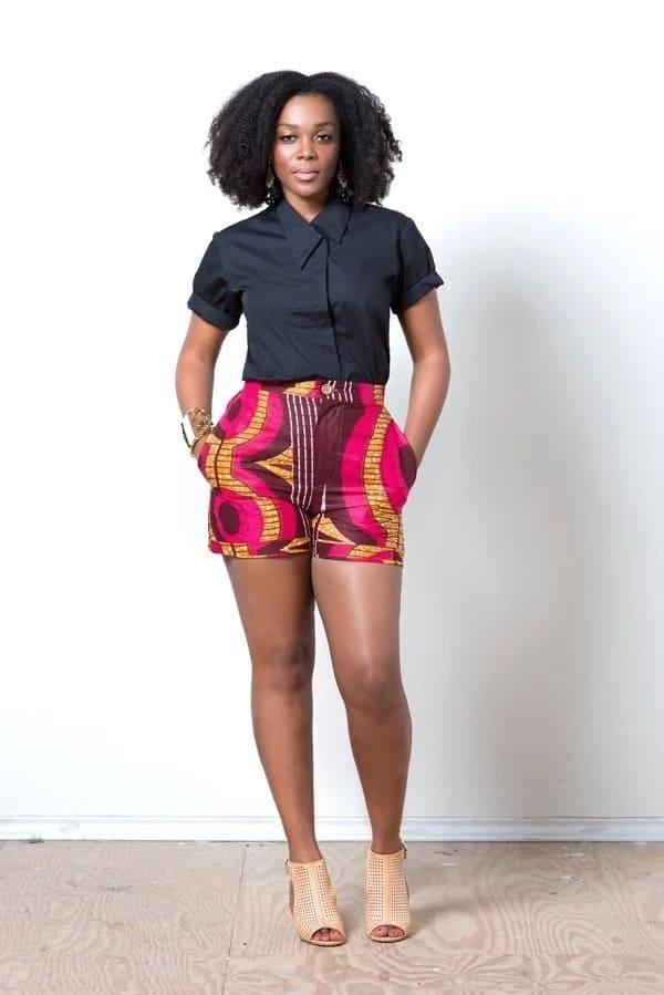 Kitenge shorts designs for ladies