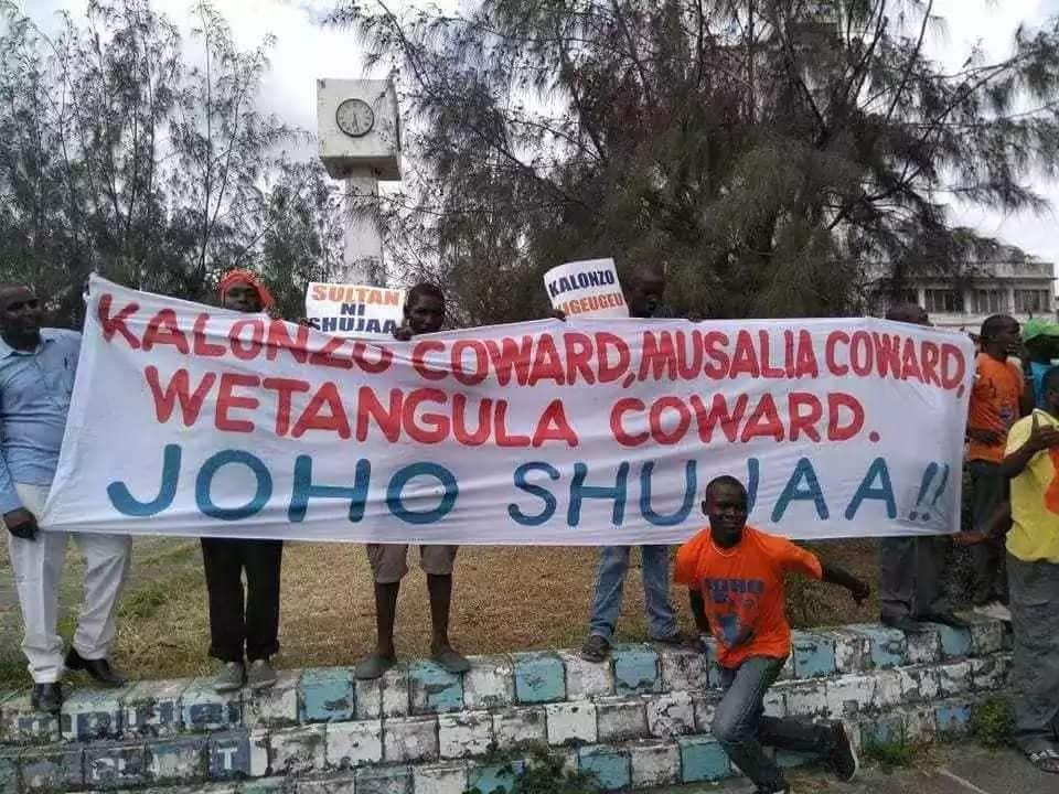 Joho supporters demonstrate outside his office, demand he be sworn in as Raila's deputy