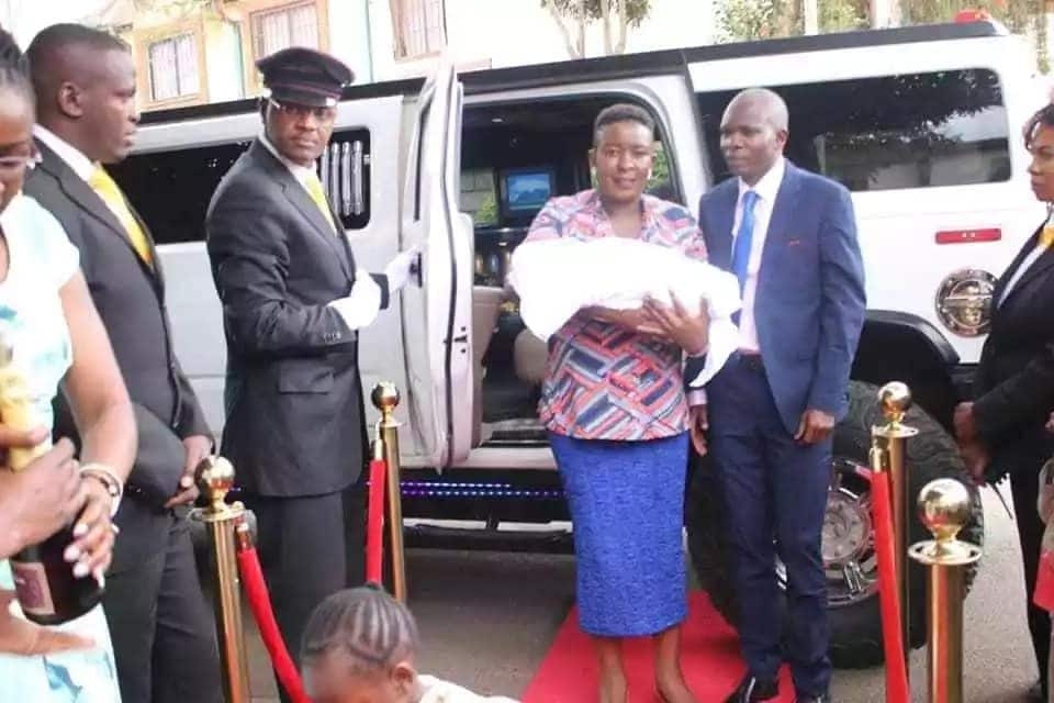 Former senator and politician hubby drive newborn baby home in Hummer limousine