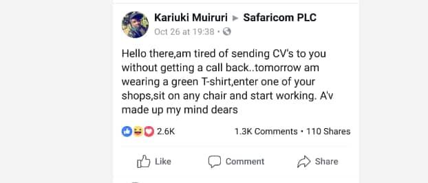 Jamaa achoshwa na kuomba kazi Safaricom bila mafanikio, atishia kujiunga na kampuni hiyo kwa lazima