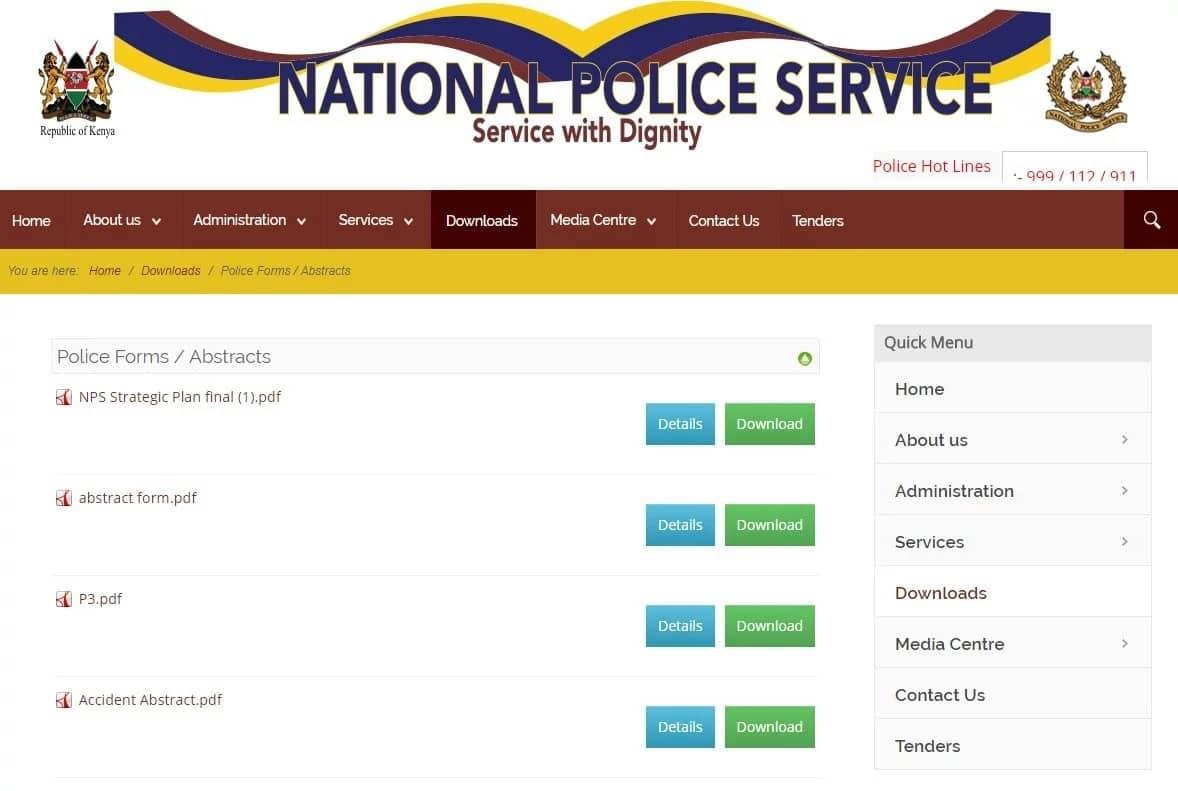 Kenya Police Abstract Form