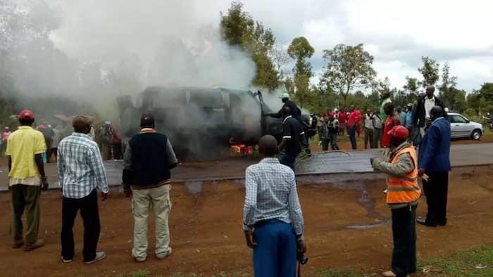 Drama as mourners save man's body from burning vehicle in Kirinyaga